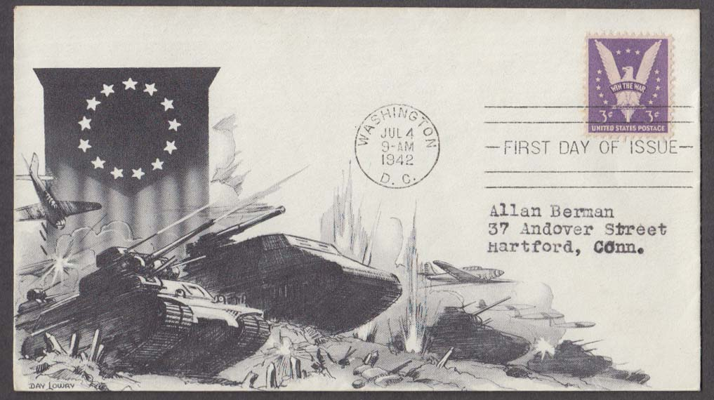 Win the War 3c FDC postal cachet cover tanks & planes 1942