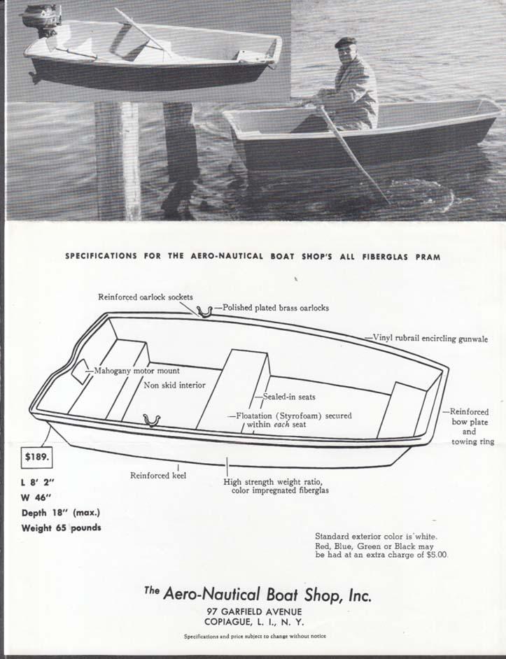 Aero-Nautical Boat Shop sell sheets for Fiberglas Pram & Minimum Dinght 1950s