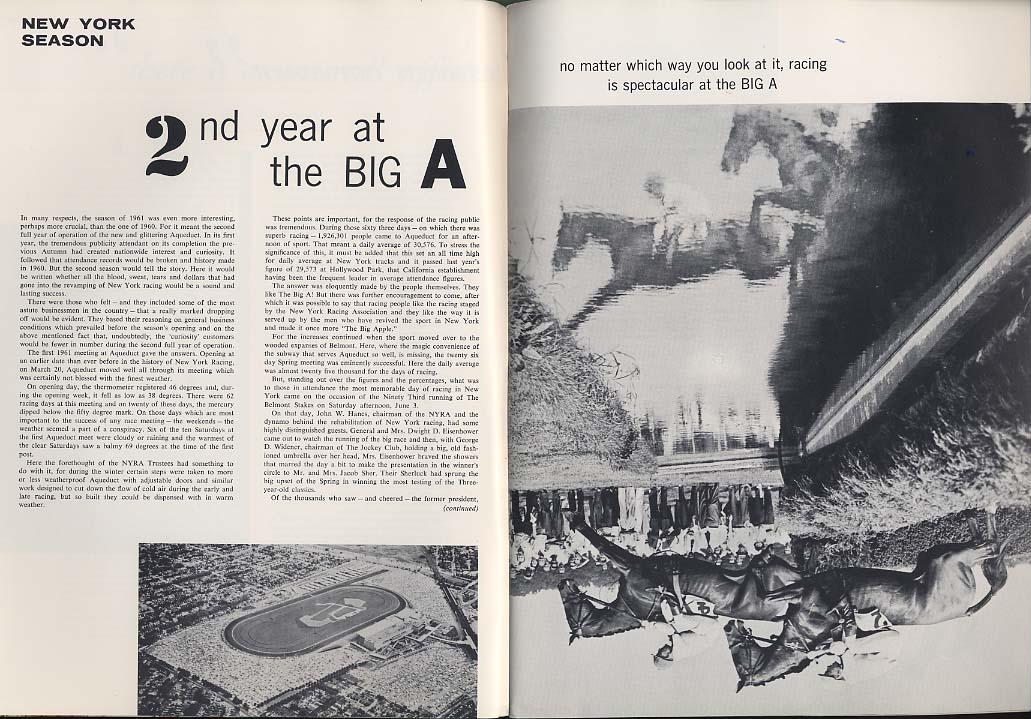 THOROUGHBRED RACING & POLO 9 1961 Santa Anita Blind Brook Big A Belvoir +