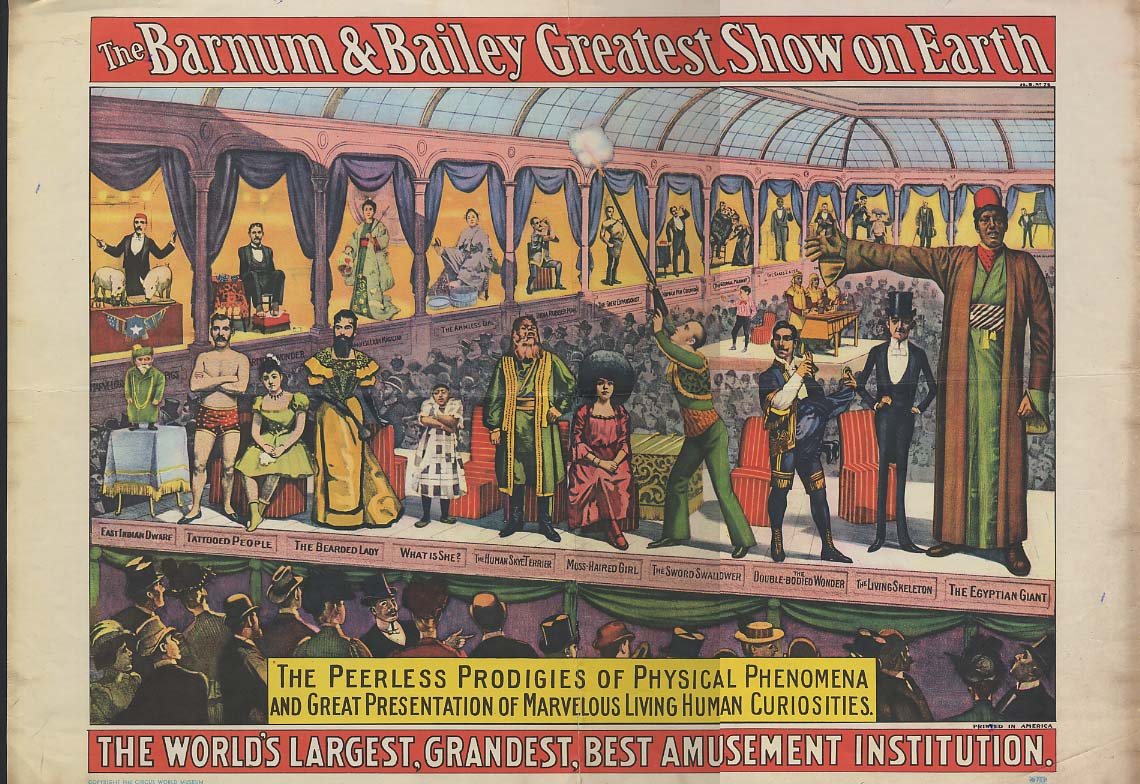 Barnum & Bailey Circus Side Show Poster reproduction Circus World Museum 1980