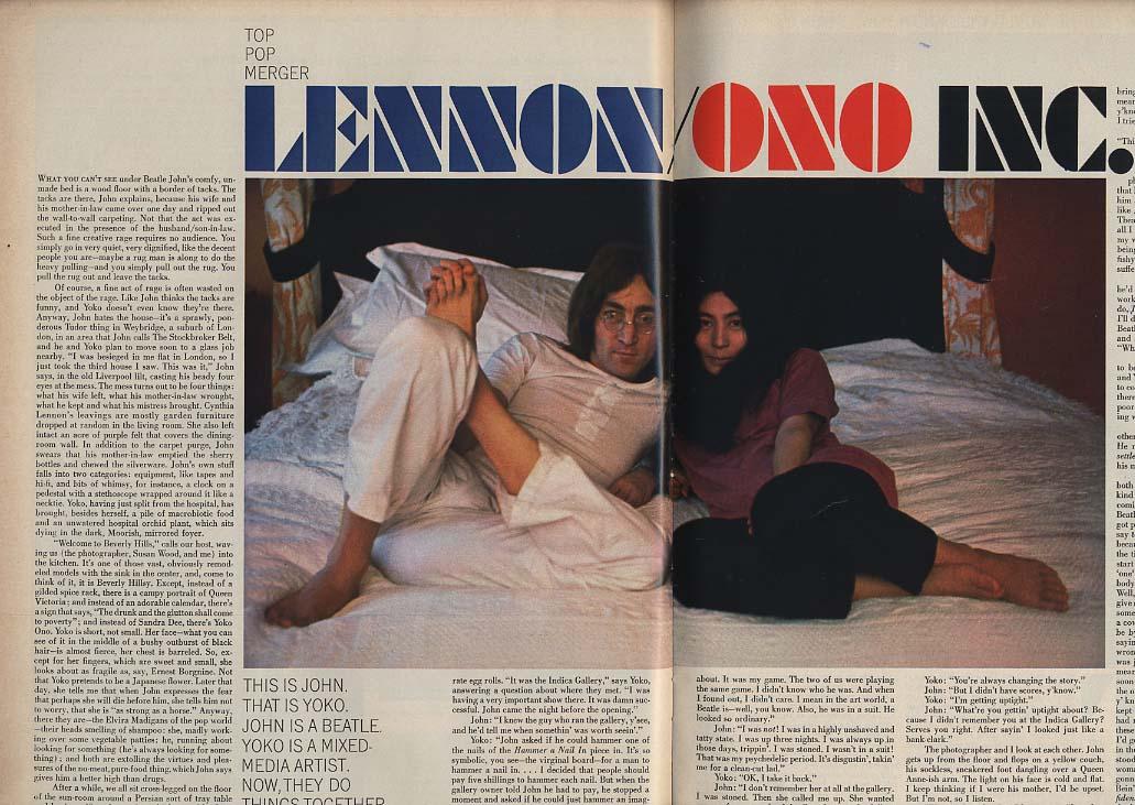 LOOK 3/18 1969 John Lennon Yoko Ono Mickey Mantle George Lewis by Kubrick