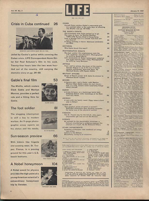 LIFE 1/13 1961 Clark Gable Marilyn Monroe Arthur Miller Misfits Pancho Segura