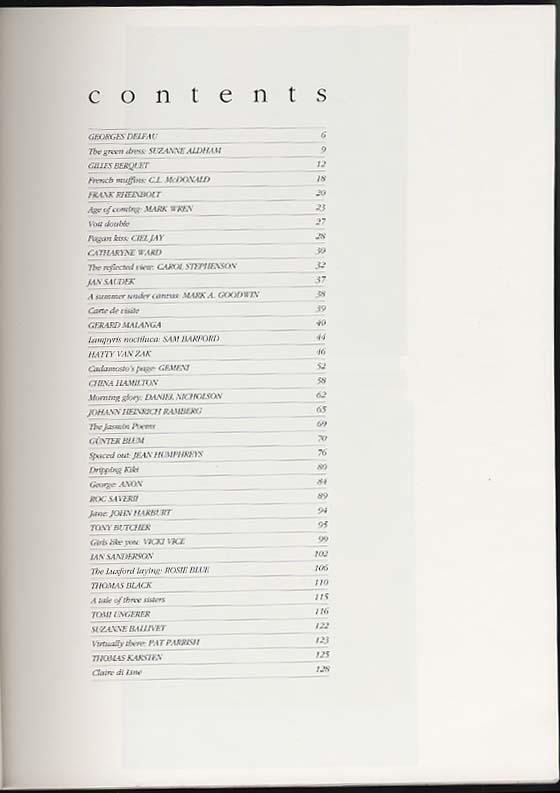 JOURNAL OF EROTICA V8 1994 Karsten Ungerer Sanderson Butcher Saverii Blum +