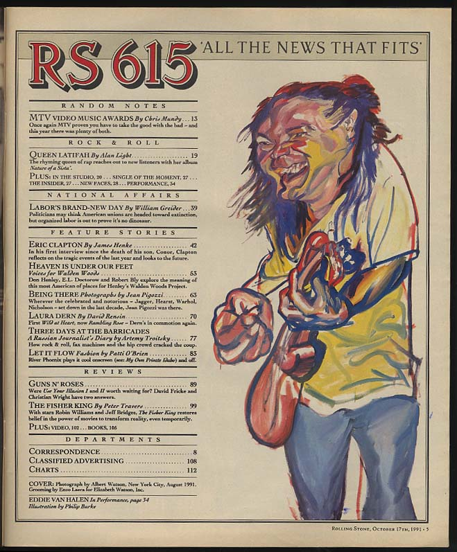 ROLLING STONE 10/17 1991 Eric Clapton Laura Dern Henley's Walden Woods