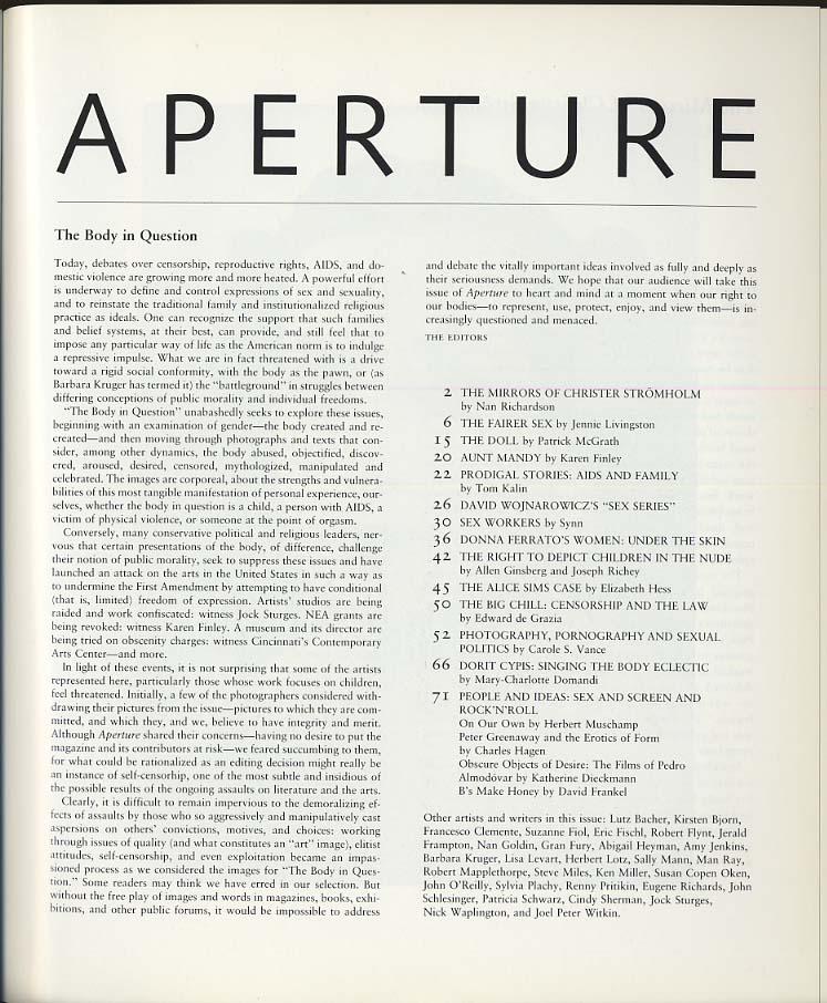 APERTURE Fall 1990 Body in Question Ferrato Allen Ginsberg Dorit Cypis +