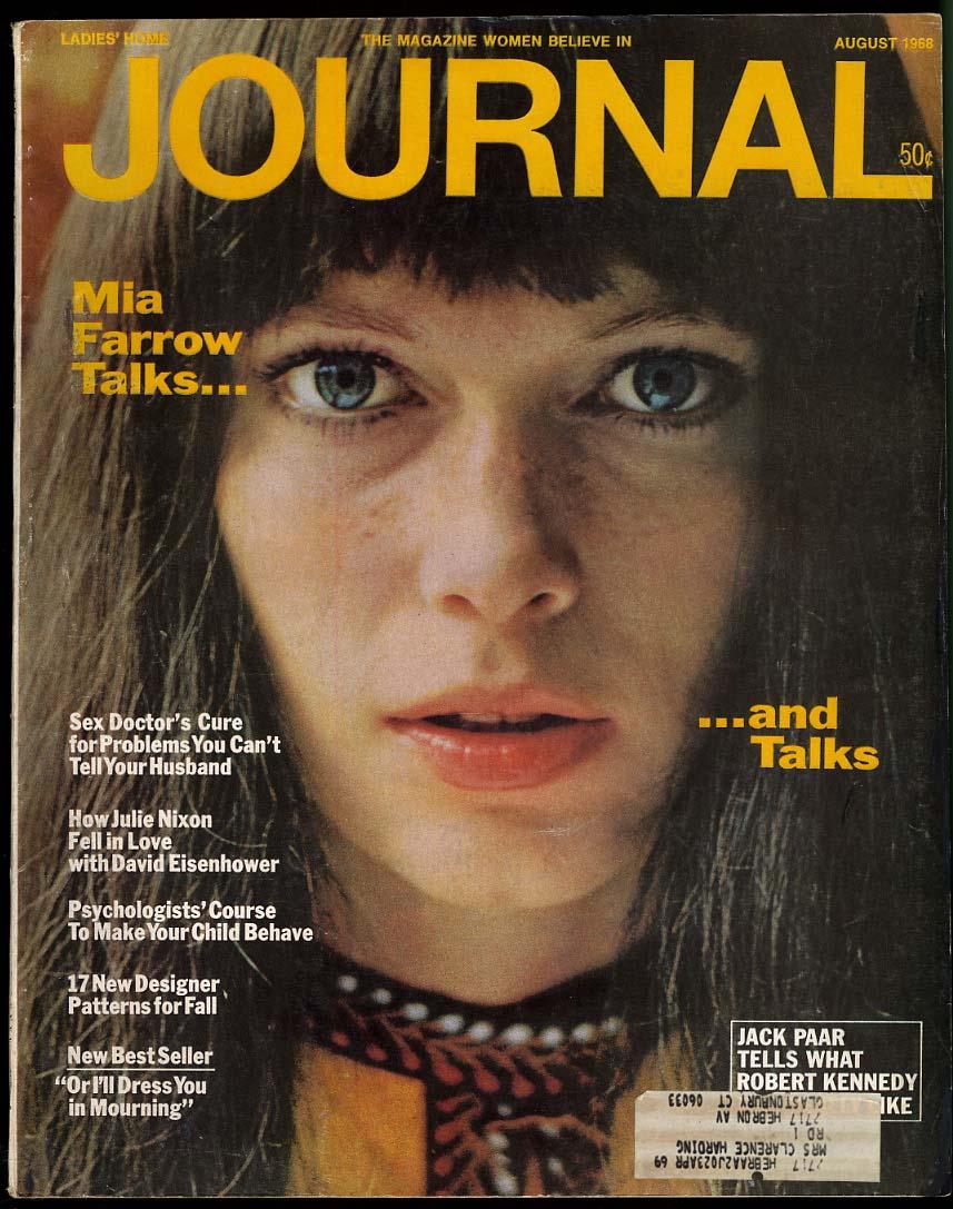 LADIES HOME JOURNAL 8 1968 Mia Farrow Julie Nixon-David Eisenhower Paar on RFK