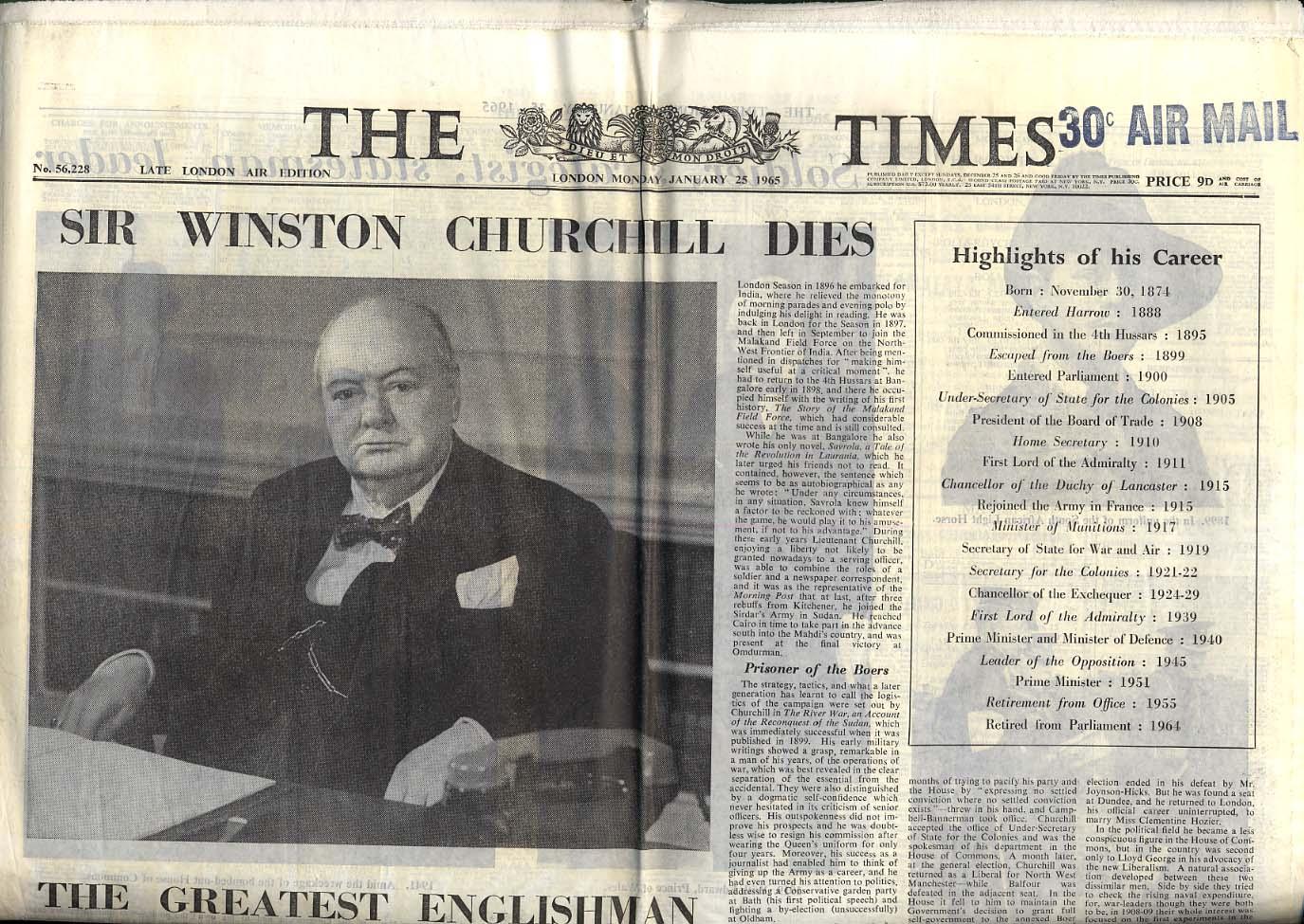The LONDON TIMES 1/25 1965 Winston Churchill Dies: Late London Air Edition
