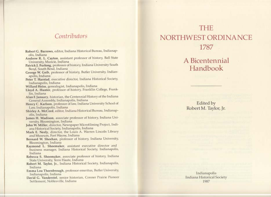 The Northwest Ordinance 1787: Bicentennial Handbook 1976 Indiana history