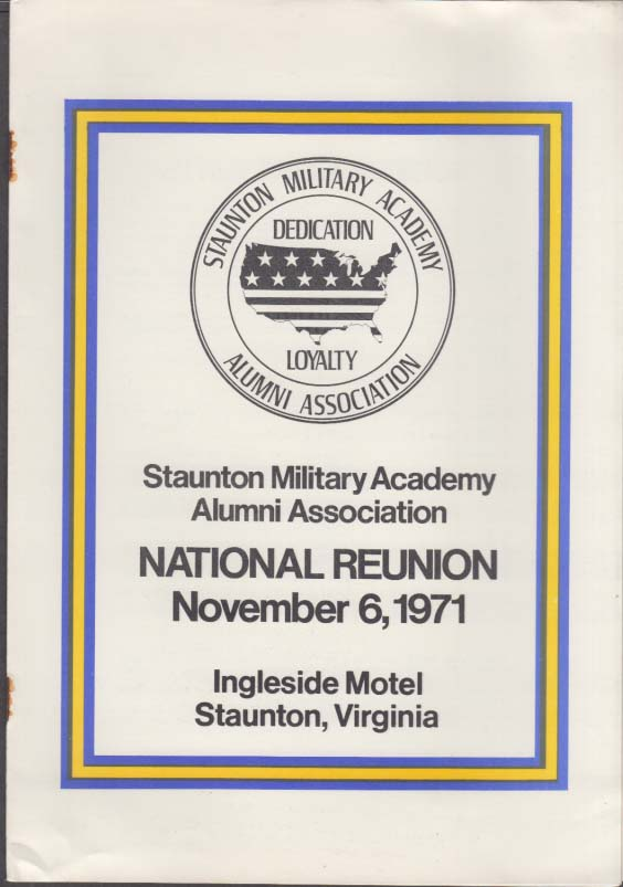 Staunton Military Academy Alumni Reunion materials packet 1971