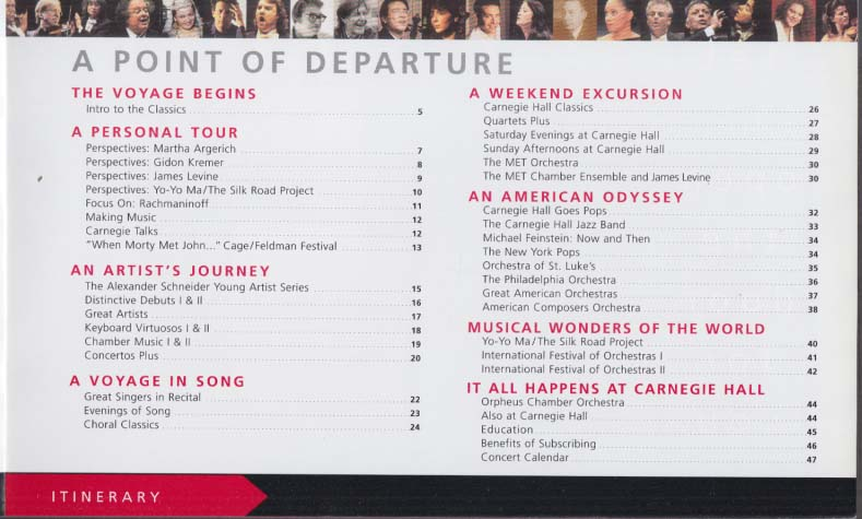 Carnegie Hall Point of Arrival Point of Departure 2001-02 Season Brochure