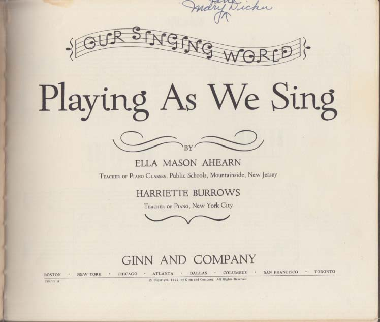 Playing As We Sing music book for children 1955 Ginn & Company