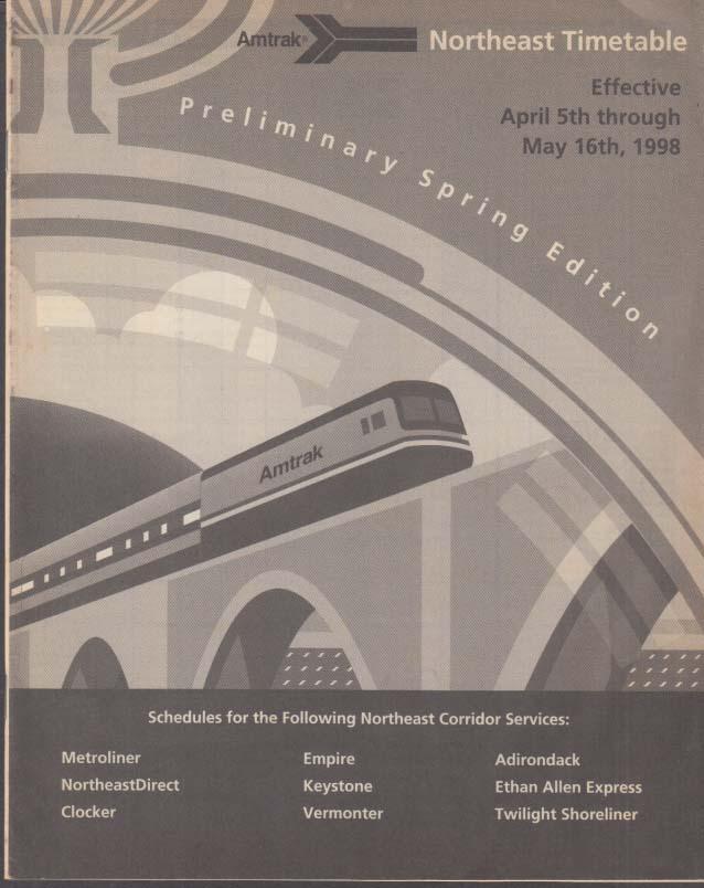 Amtrak Northeast Timetable 4-5 1998 Preliminary Spring Edition