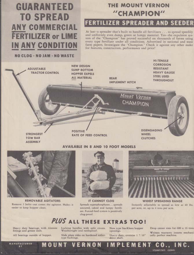 Mount Vernon Champion Fertilizer Spreader & Seeder SELL SHEET ca 1950s