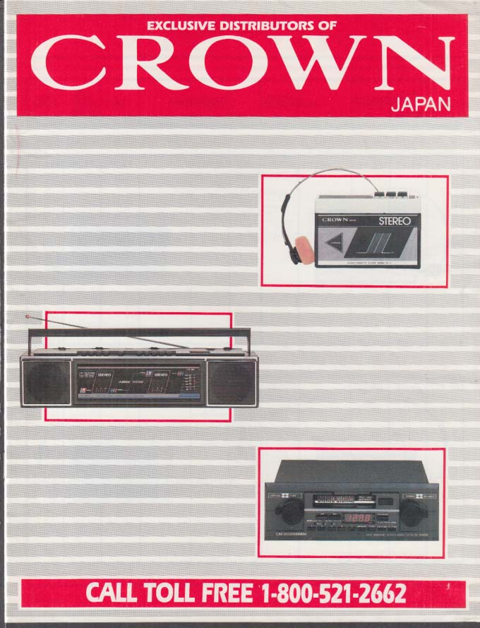 Crown Electronics Catalog 1970s tape players auto stereo boom boxes Japan