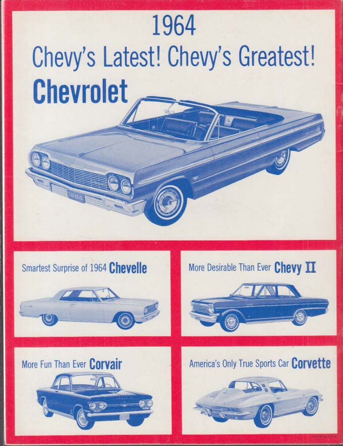 Sing to the U S A with Chevrolet 1964 Corvette Chevelle Chevy II Impala Corvair