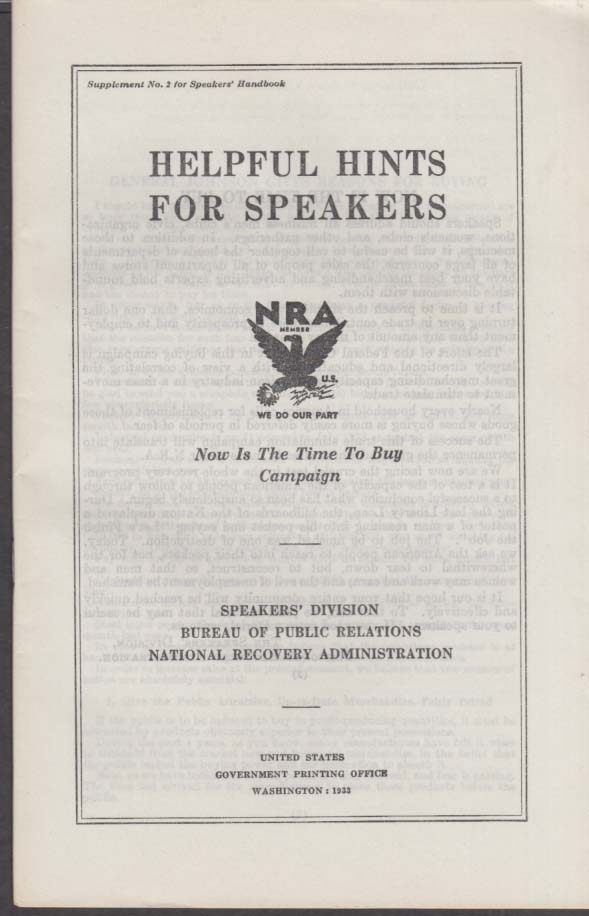 NRA National Recovery Administration Helpful Hints for Speakers booklet 1933