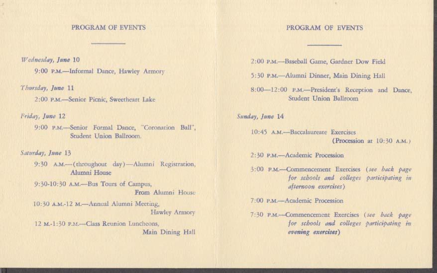 University of Connecticut 70th Commencement announcement & min-program 1953