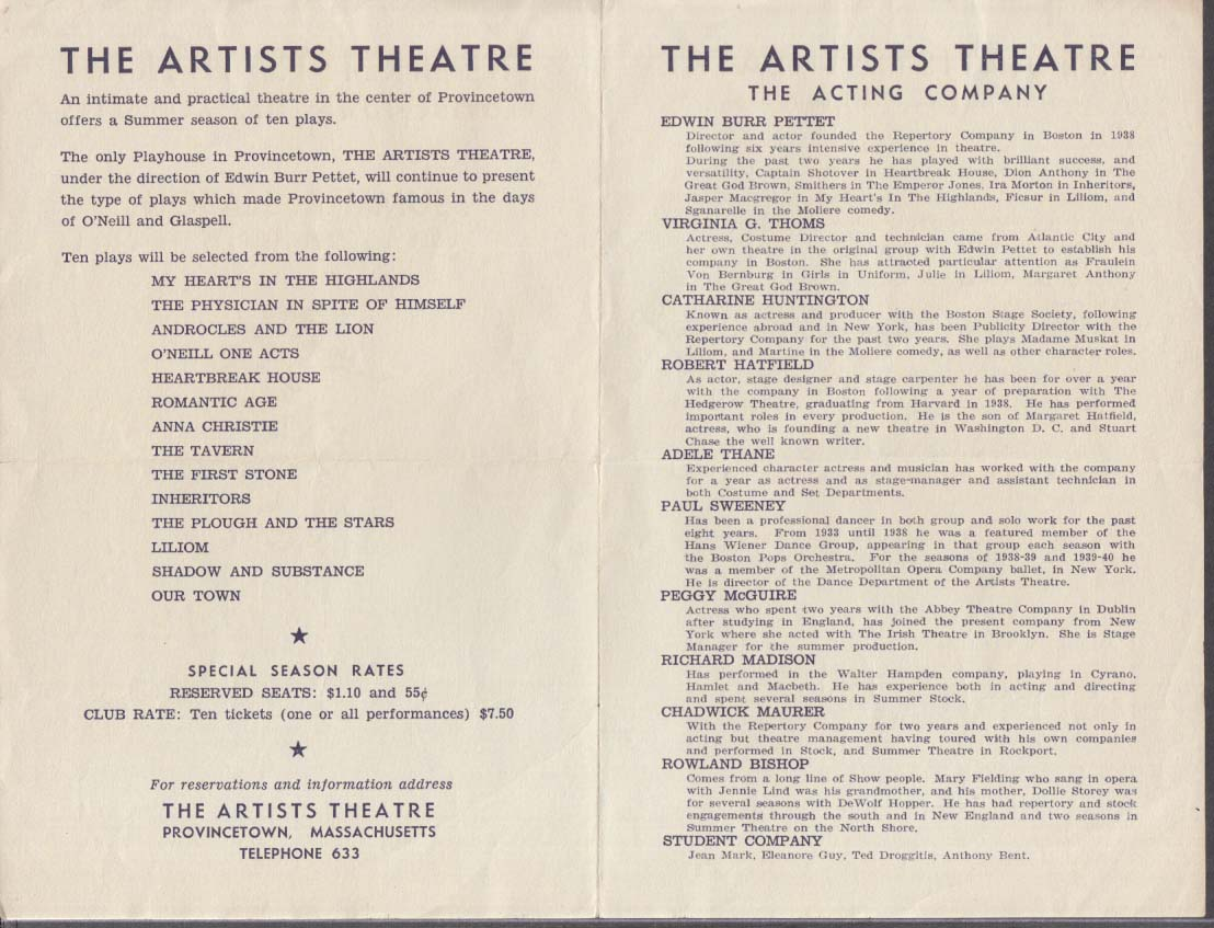 Artists Theatre Provincetown MA Summer Season 1940 w/ Our Town cast sheet