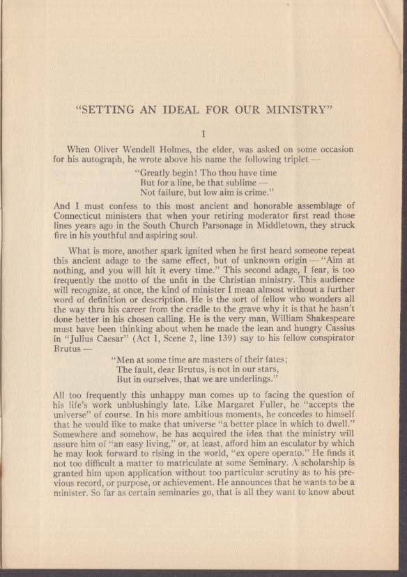 Theodore Ainsworth Greene Setting an Ideal for Ministry Hartford Seminary 1941