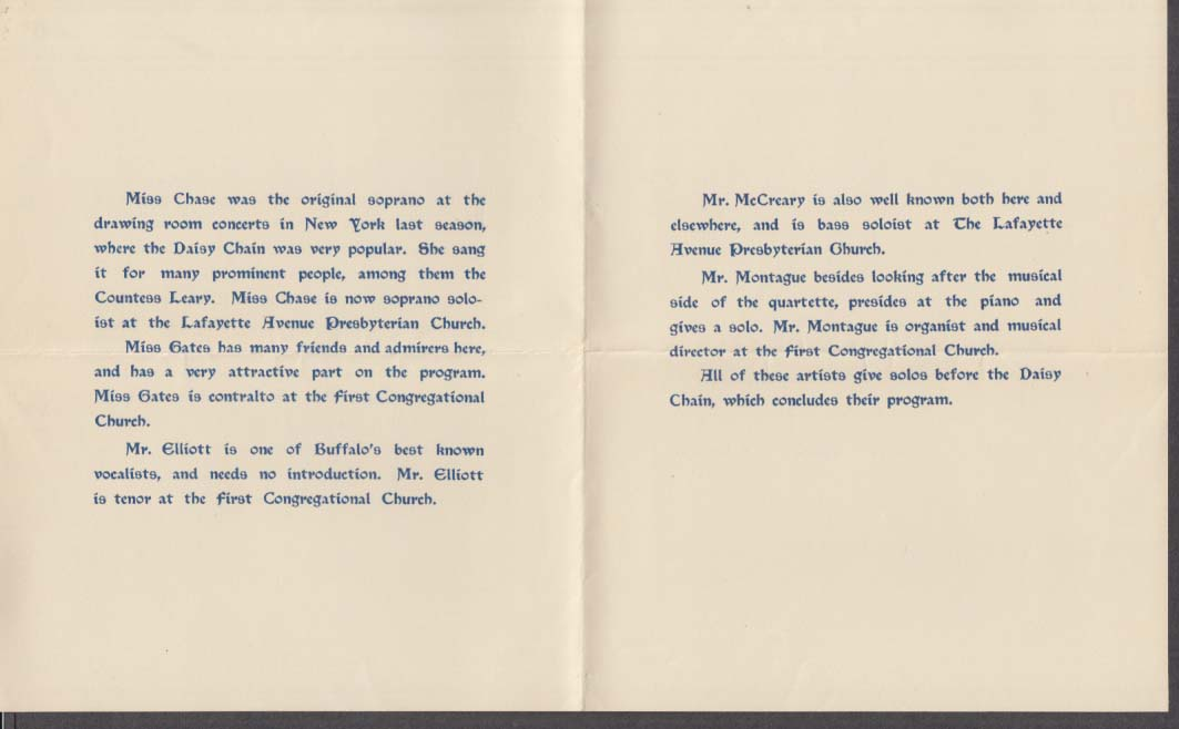 Twentieth Century Club Lyric Quartette Song Recital program 1902 Buffalo NY