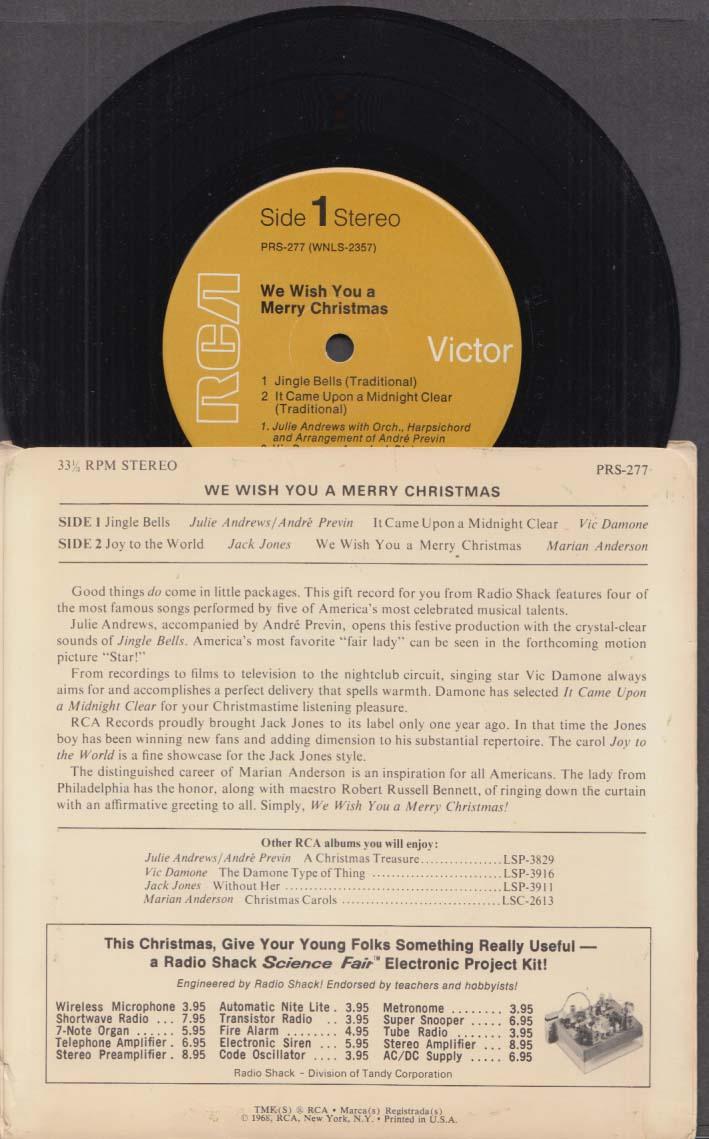 Radio Shack 33rpm Christmas record Julie Andrews Marian Anderson Damone 1968