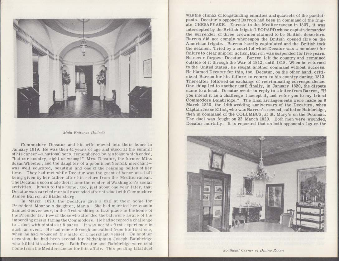 The Decatur House & Distinguished Occupants 1967 Naval Historical Foundation