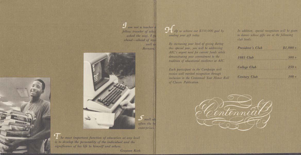 American International College Centennial fund-raising folder 1985