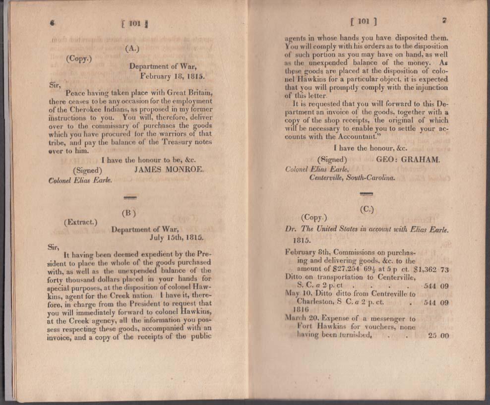 Public Accounts & Expenditures Report on U S War Department 1817 James Monroe