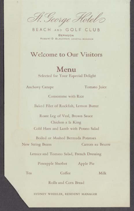 St George Hotel Beach & Golf Club Bermuda menu ca 1930s