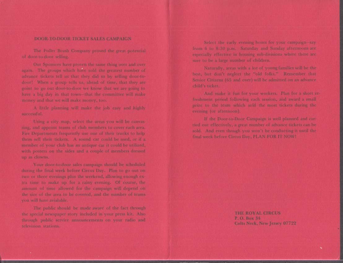 Royal Circus How to Make Money with Door-to-Door Ticket Sales folder 1960s
