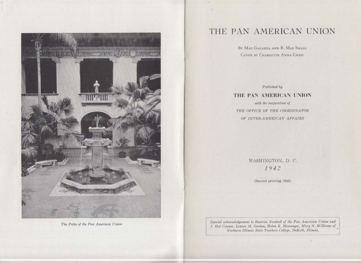 The Pan-American Union descriptive brochure Washington DC 1942 1945
