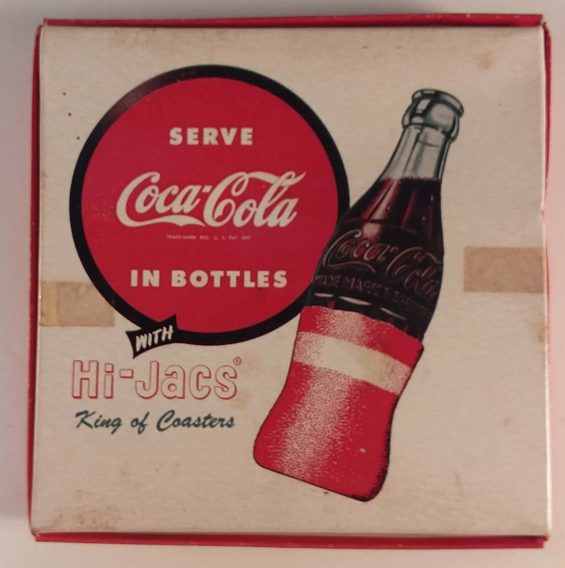 Hi-Jacs for Coca-Cola bottles King of Coasters cloth sleeves set of 6 ca 1950s