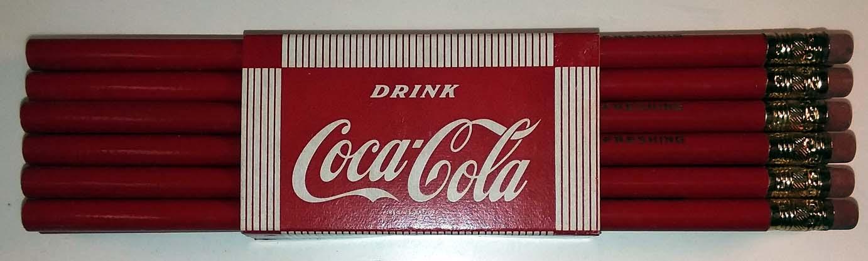 Drink Coca-Cola Refreshing bundle of a dozen pencils in sleeve ca 1950s