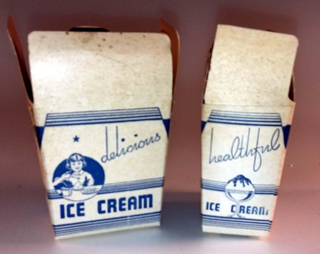 Two UNUSED one-half pint ice cream containers Massachusetts M-44 1950s