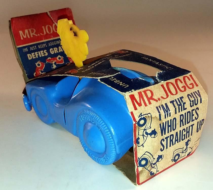 Mr Joggi plastic wall-climbing toy in original packaging 1950s Tigrett Toy