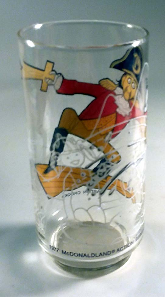 McDonald's souvenir drinking glass Captain Crook 1977