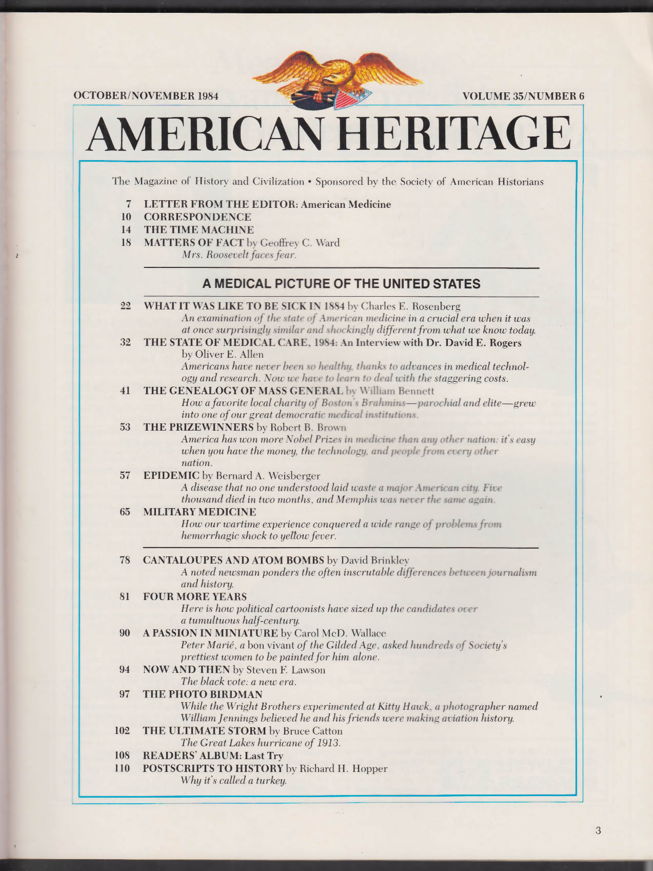 AMERICAN HERITAGE David E Rogers Peter Marie Wright Brothers + 10-11 1984