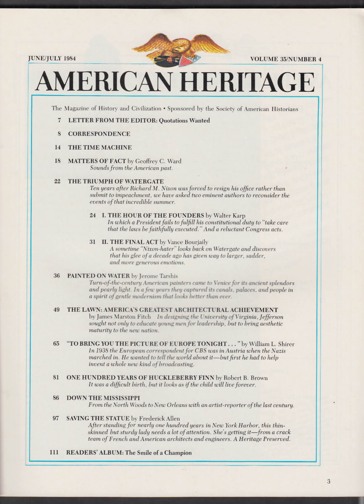 AMERICAN HERITAGE Watergate Nixon Huckleberry Finn + 6-7 1984