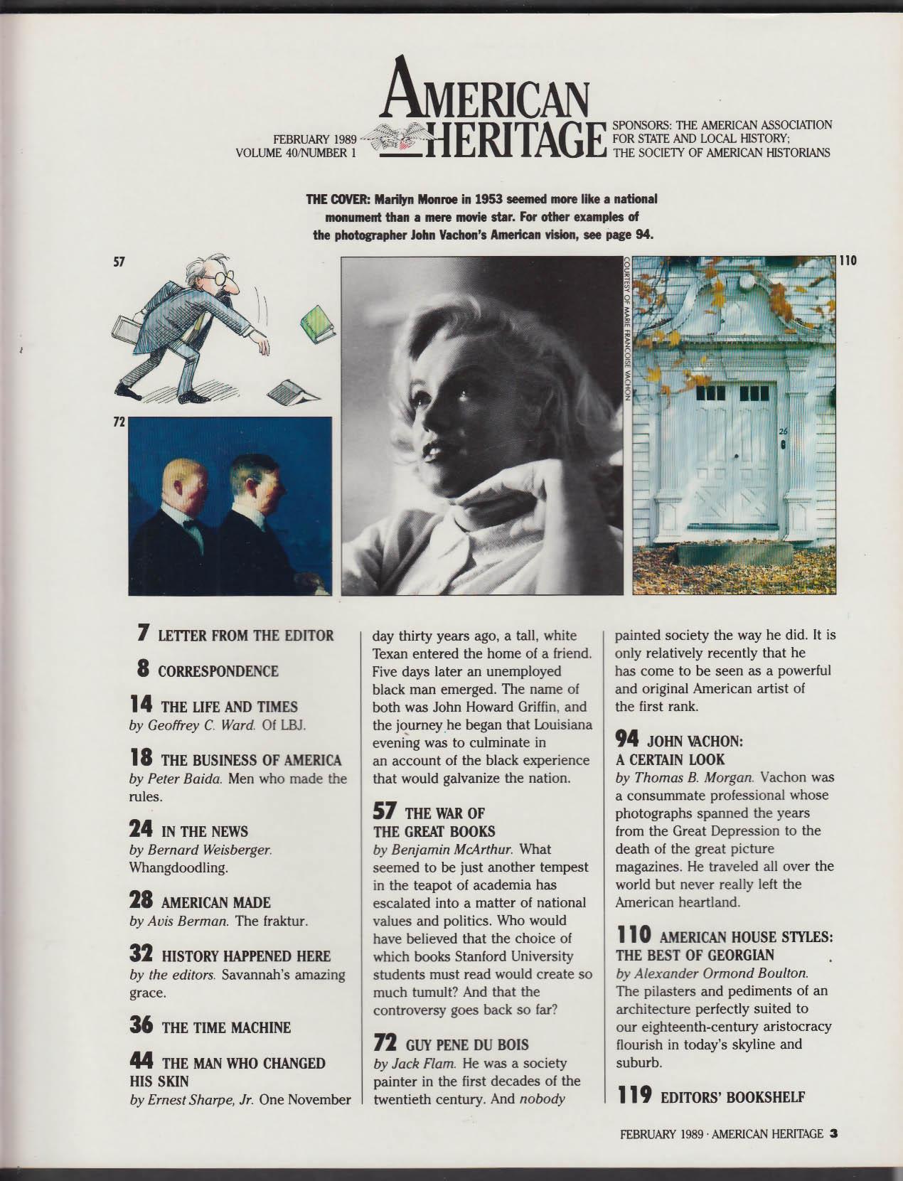 AMERICAN HERITAGE John Vachon Marilyn Monroe John Howard Griffin + 2 1989