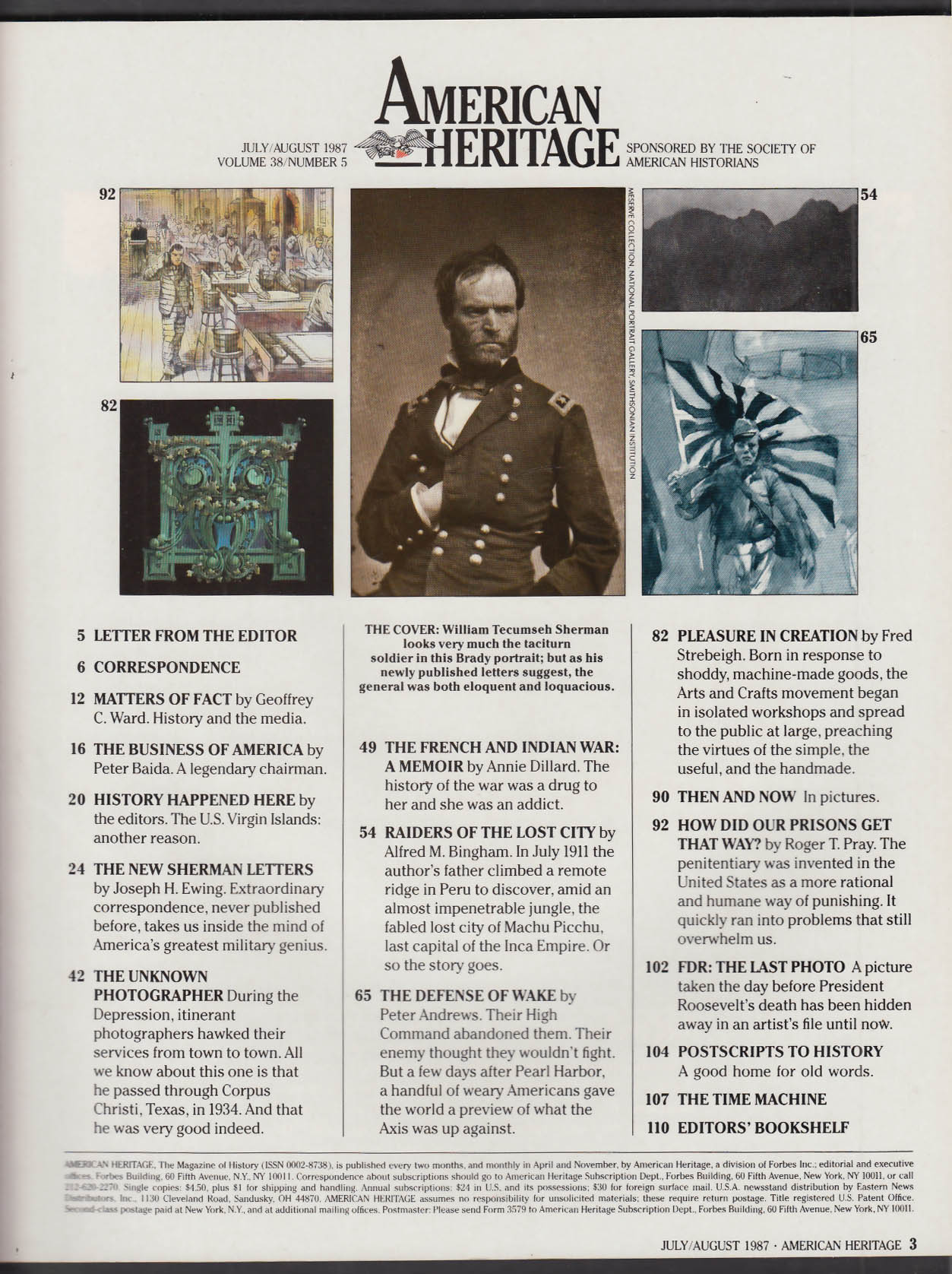 AMERICAN HERITAGE William Tecumseh Sherman FDR + 7-8 1987