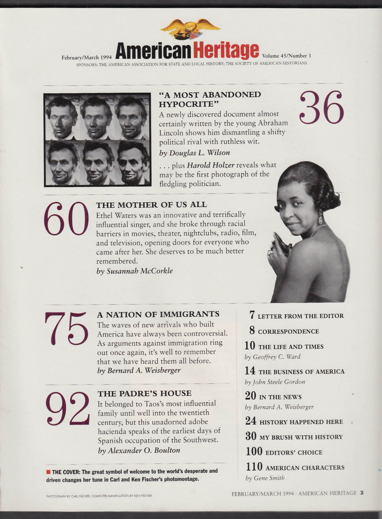 AMERICAN HERITAGE Ethel Waters Abraham Lincoln Immigration + 2-3 1994