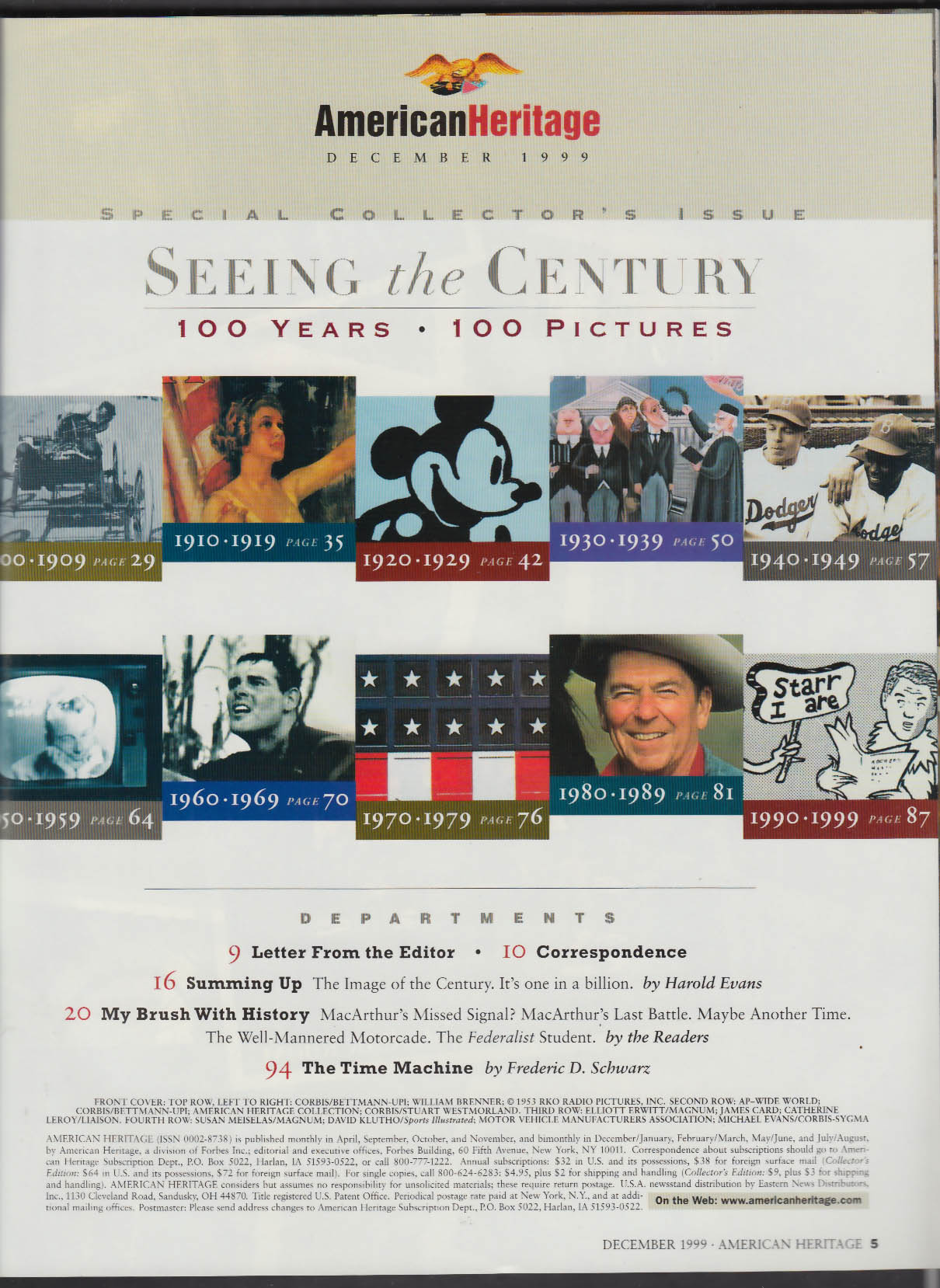 AMERICAN HERITAGE Special Collector's Issue: 20th Century Retrospective 12 1999