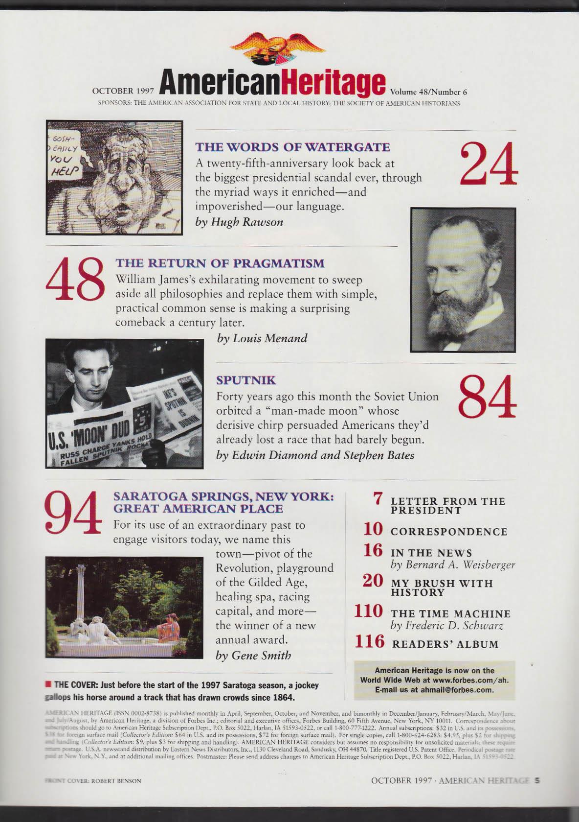 AMERICAN HERITAGE Saratoga Springs Watergate William James Pragmatism + 10 1997