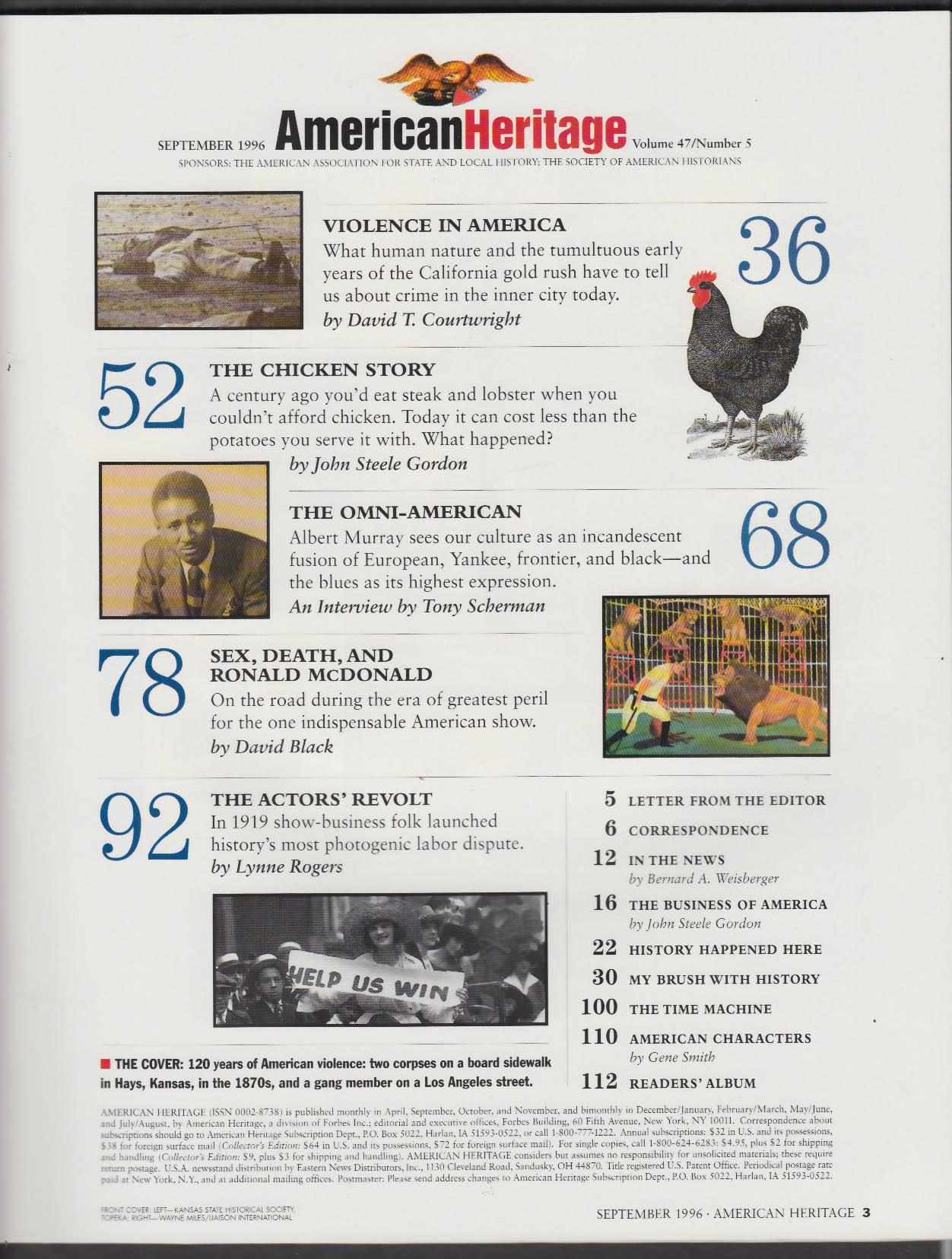 AMERICAN HERITAGE Violence in America Albert Murray + 9 1996