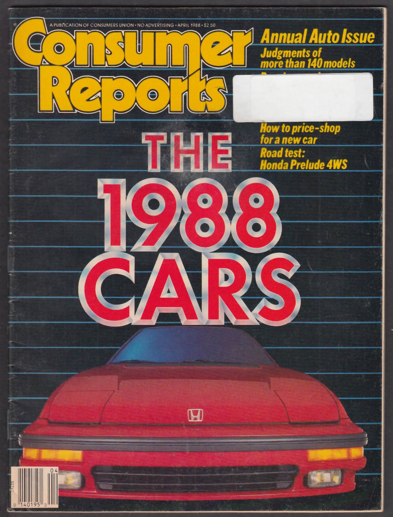 CONSUMER REPORTS Honda Prelude Si; '88 cars compared ++ 4 1988