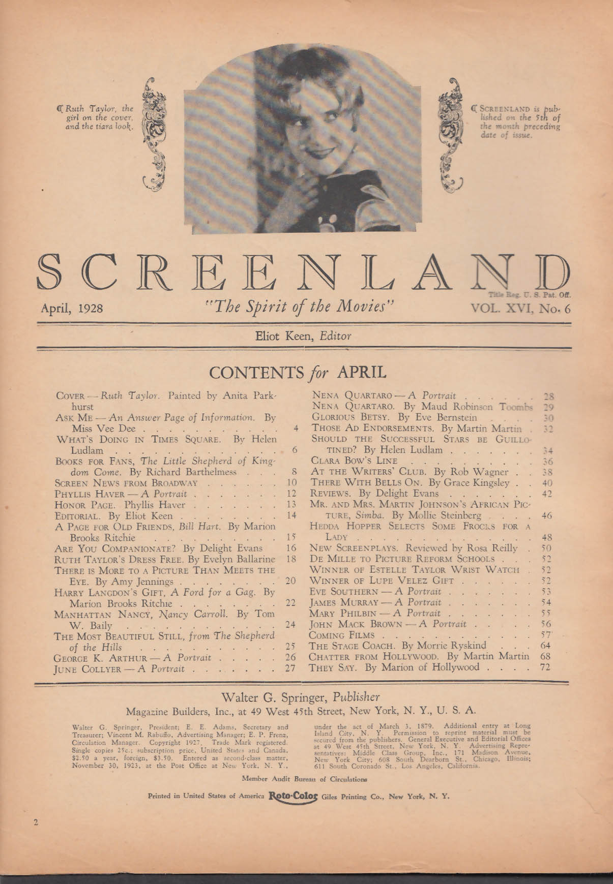 SCREENLAND Ruth Taylor Phyllis Haver Nena Quartaro + 4 1928