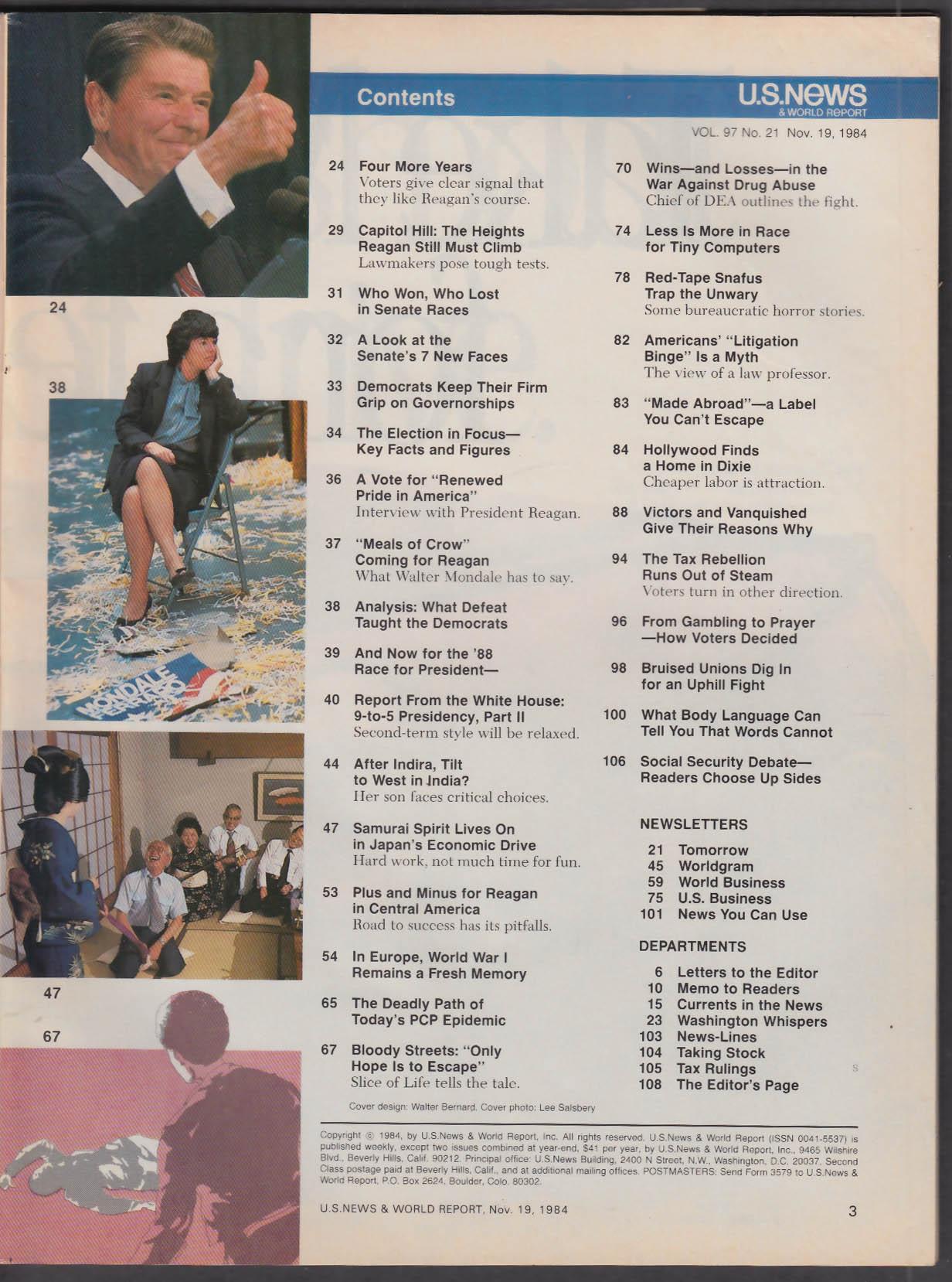US NEWS & World Report Ronald Reagan Japan + 11/19 1984