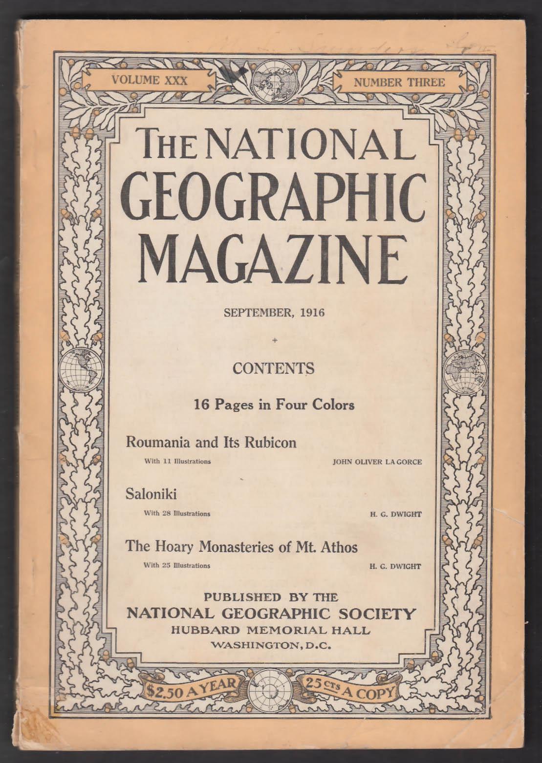 NATIONAL GEOGRAPHIC Romania Rumania Rubicon Saloniki Mt Athos + 9 1916