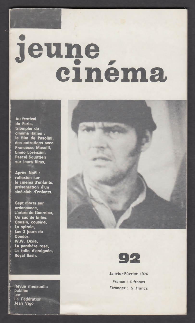 JEUNE CINEMA #92 French-language movie magazine Jack Nicholson + 1-2 1976