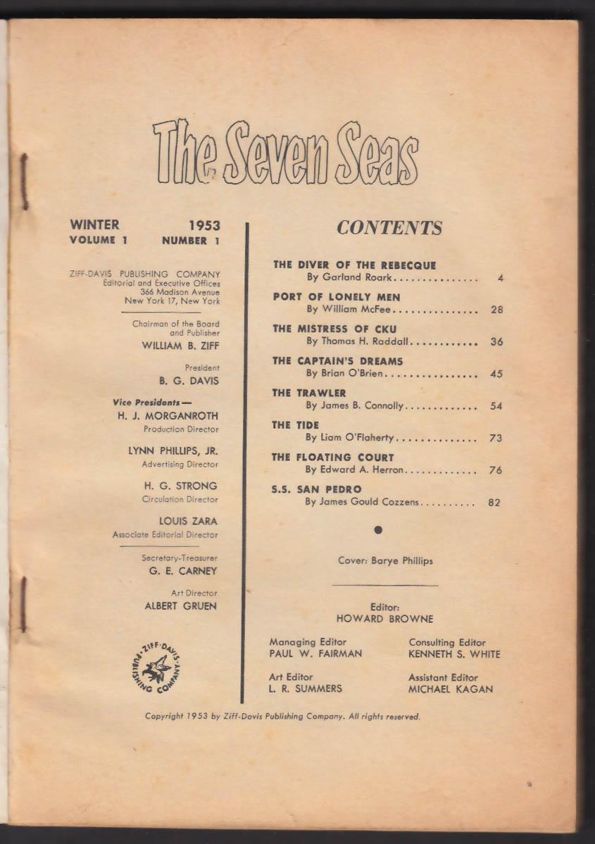 The Seven Seas Vol 1 #1 Winter 1953: Garland Roark James Gould Cozzens +